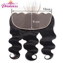 Beauty Princess Hair-extensiones de pelo brasileñas con malla, accesorio capilar ondulado con cierre Frontal de malla, Pre arrancado, Remy, 13x6