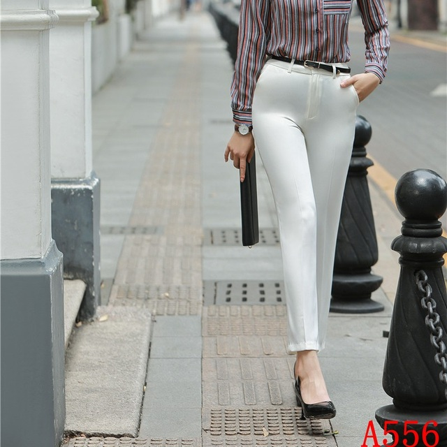 fb6968d1c4c3a US $19.71 10% OFF Aliexpress.com : Buy New 2019 Spring Autumn Casual  Fashion Women Pants White Trousers for Office Ladies Pencil Pants Slim OL  Styles ...