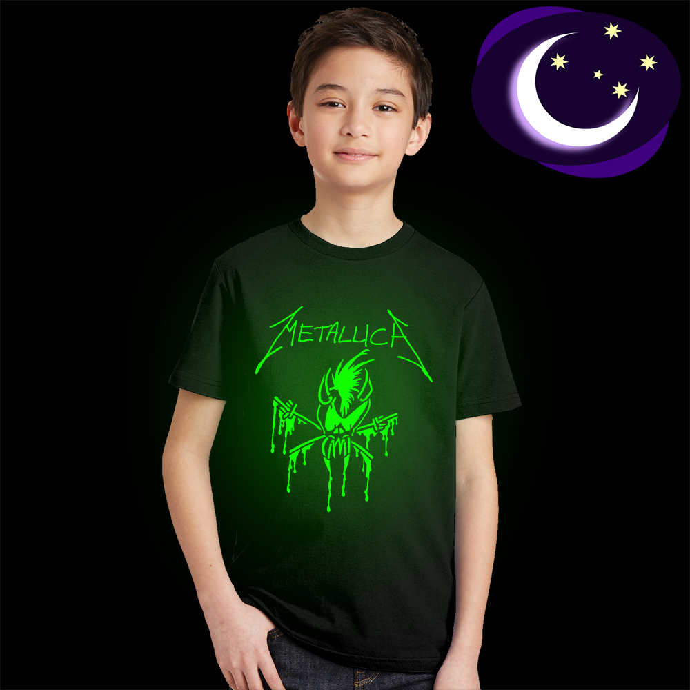 kids summer tees Fluorescent Glow In Dark children T-Shirt Metallica Skull Print Heavy Metal Rock Band Hip Hop teens Clothing glow in the dark saw skull head style mask transparent