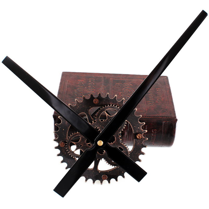 Wall Clock 30CM big pointer clock mechanism  Wall Clocks saat Reloj retro wooden gear clocks hanging  accessories mute kit