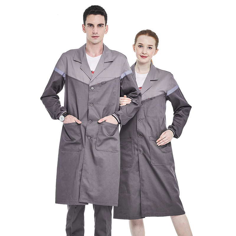 Men Grey Work Coat Poly Cotton Long Sleeve Lab Coat With Hi Vis Tapes Work Jacket