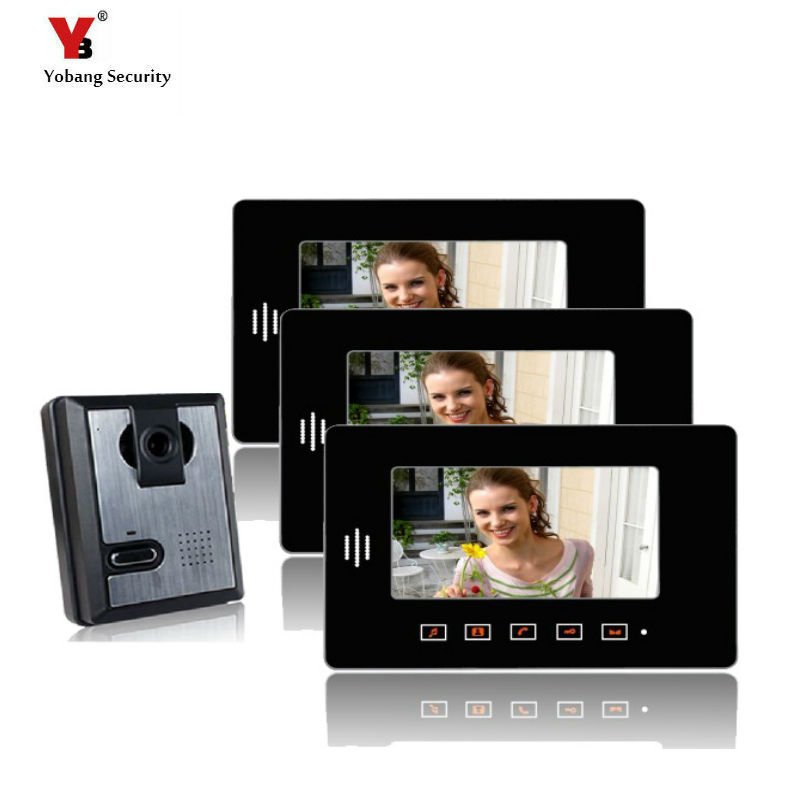 Yobang Security 7 Video Intercom Apartment Door Phone System 3 Monitor + 1 Doorbell Camera For 3 House yobang security 7 video intercom apartment door phone system 2 monitor 1 doorbell camera for 2 house family in stock wholesal