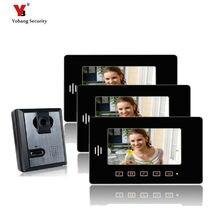 Yobang Security 7″ Video Intercom Apartment Door Phone System 3 Monitor + 1 Doorbell Camera For 3 House