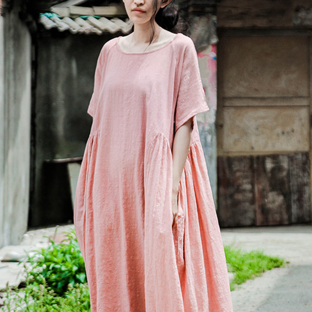 f5561aa732 Qaturalan 2018 New RetroSolid Dress Women Casual Loose Vestidos O Neck Cotton  Linen Long Maxi Shirt Vintage Dresses Plus Size