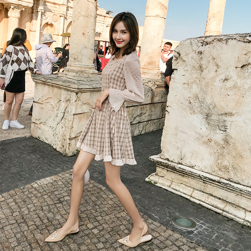 2019 new women 39 s spring plaid dress comfortable breathable casual Korean version of the trumpet sleeves fake two A line dress in Dresses from Women 39 s Clothing