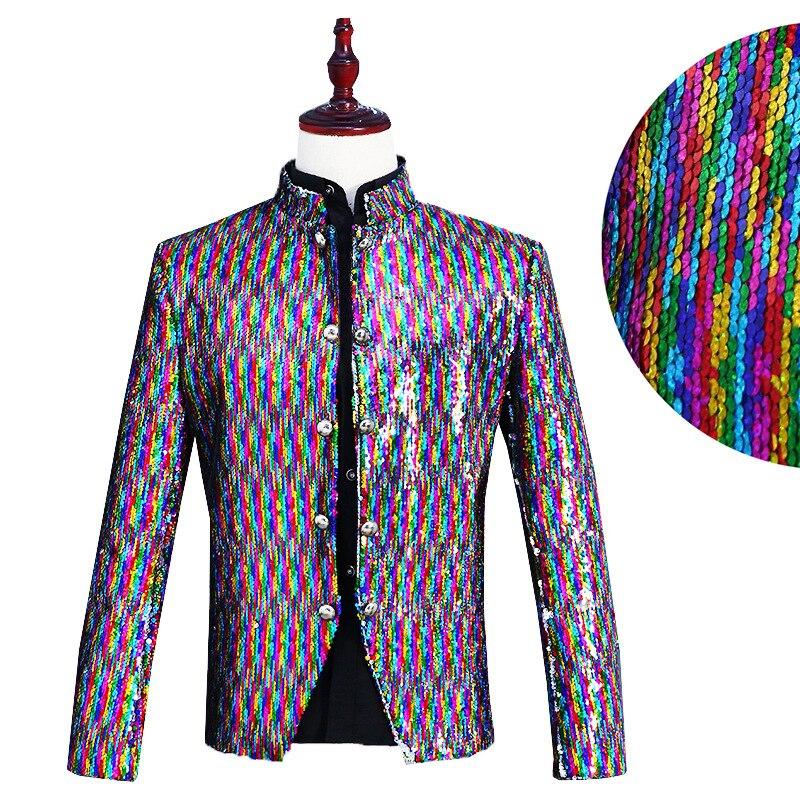 Mode hommes costume veste longue décontracté formel Blazer scène Costumes chanteurs Performance hommes robe Costumes vestes Sequin vêtements