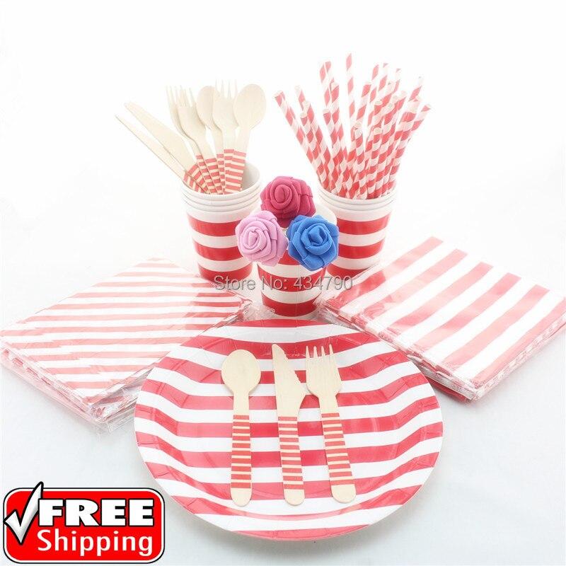 193 pieceslot red striped paper strawsgift