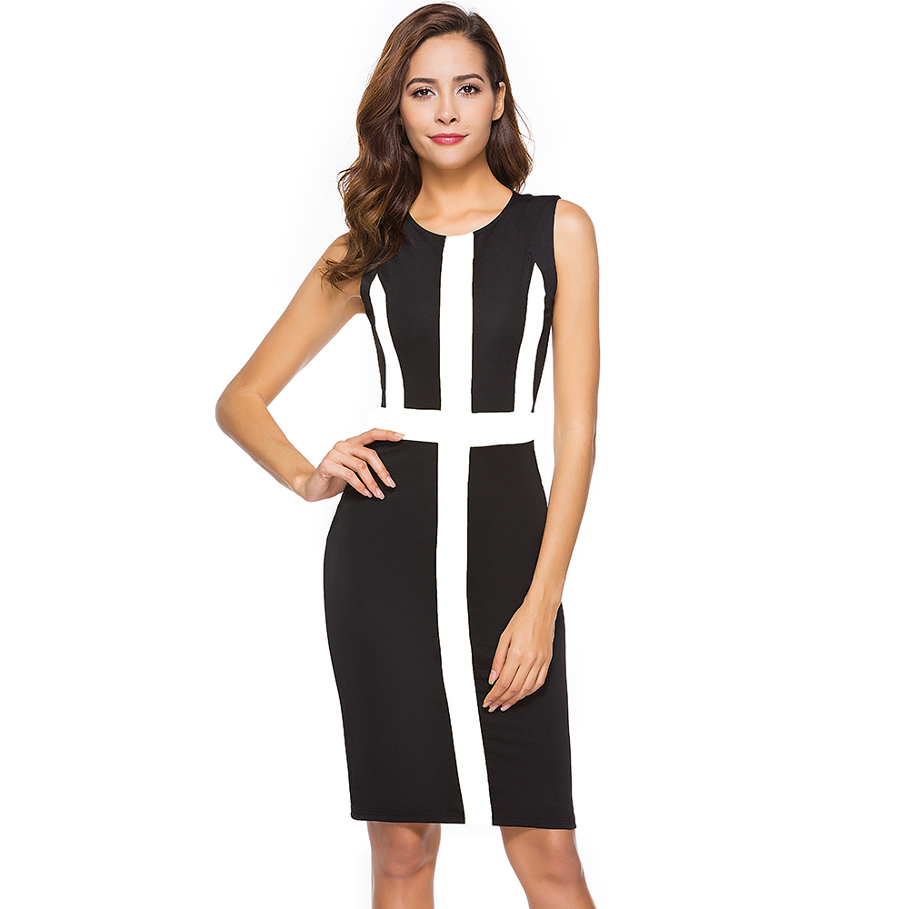 Summer Womens Office Dress Female Color Block Sheath Bodycon Formal