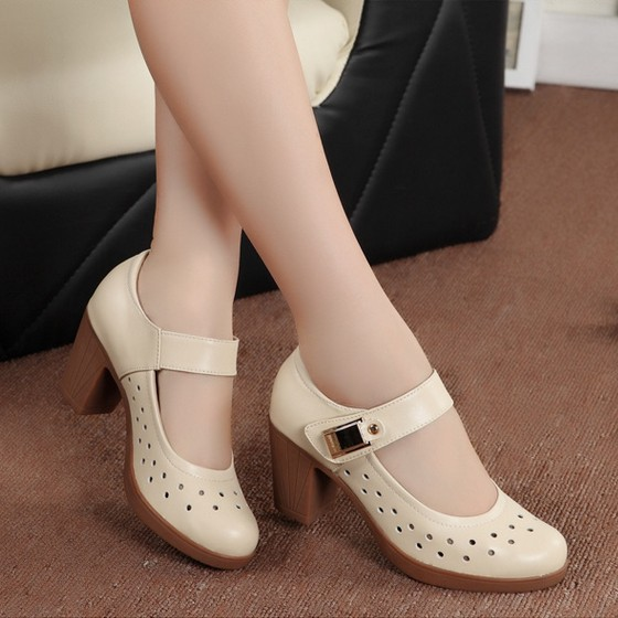 Women genuine leather pumps office lady shoes for woman comfort ...