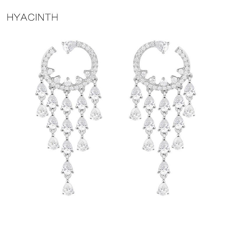 HYACINTH 925 Sterling Silver Women Earrings Drops Diamond Earrings Jewelry Long Tassel Women Earrings Girl Pendante Femme bbc сколько людей может жить на земле