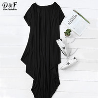 Dotfashion 2016 רגיל נשי שחור מקסי שרוול קצר דולמן שרוול קצר כתף אחת סימטרי שמלת חולצת טי