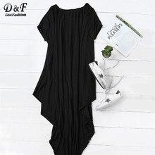 Dotfashion 2016 женский плотная Черный одно плечо «летучая мышь» с коротким рукавом макси Асимметричный футболка платье