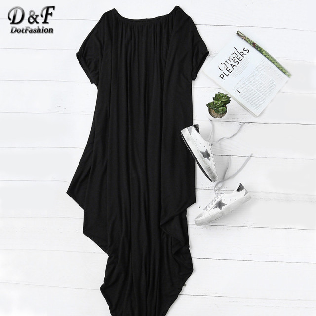Dotfashion 2016 Female Plain Black One Shoulder Dolman Short Sleeve Short Sleeve Maxi Asymmetrical Tshirt Dress