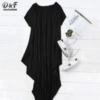 Dotfashion 2016 Female Plain Black One Shoulder Dolman Short Sleeve Short Sleeve Maxi Asymmetrical Tshirt Dress
