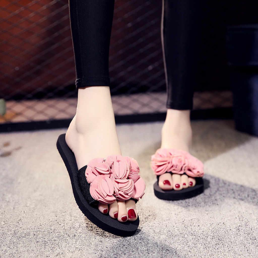 Boêmio flor plana chinelos sandálias de verão das mulheres antiderrapante sapatos de praia chinelos de verão feminino 2019 flip flops sapatos femininos
