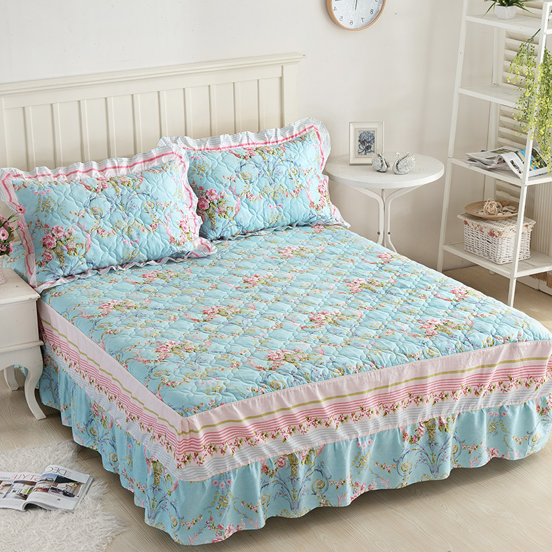 Aqua Bed Skirt Print Bed Skirt Bedding Sets 4pc100
