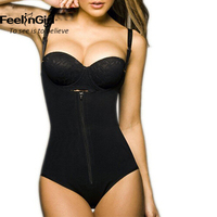 FeelinGirl Women Zipper Body Shaper Waist Trainer Vest Shapers Waist Trimmer Belt Slimming Tummy Control Bodysuit