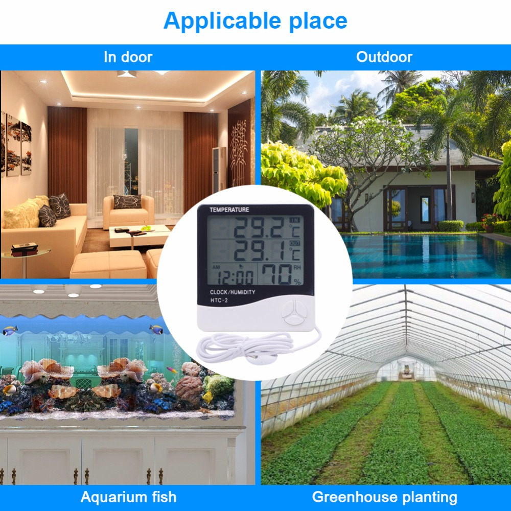 Image 5 - New Indoor Outdoor Thermometer Hygrometer Weather Station 