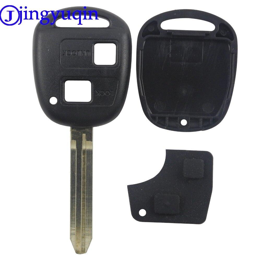 Jingyuqin 2 кнопки дистанционного ключа автомобиля пустой чехол для Toyota Prado Camry RAV4 Toy43 с резиновыми накладками