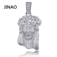 JINAO New Big Jesus Necklace & Pendant With Tennis Chain gold Color Iced Out Cubic Zircon Men's Hip Hop Jewelry Gift