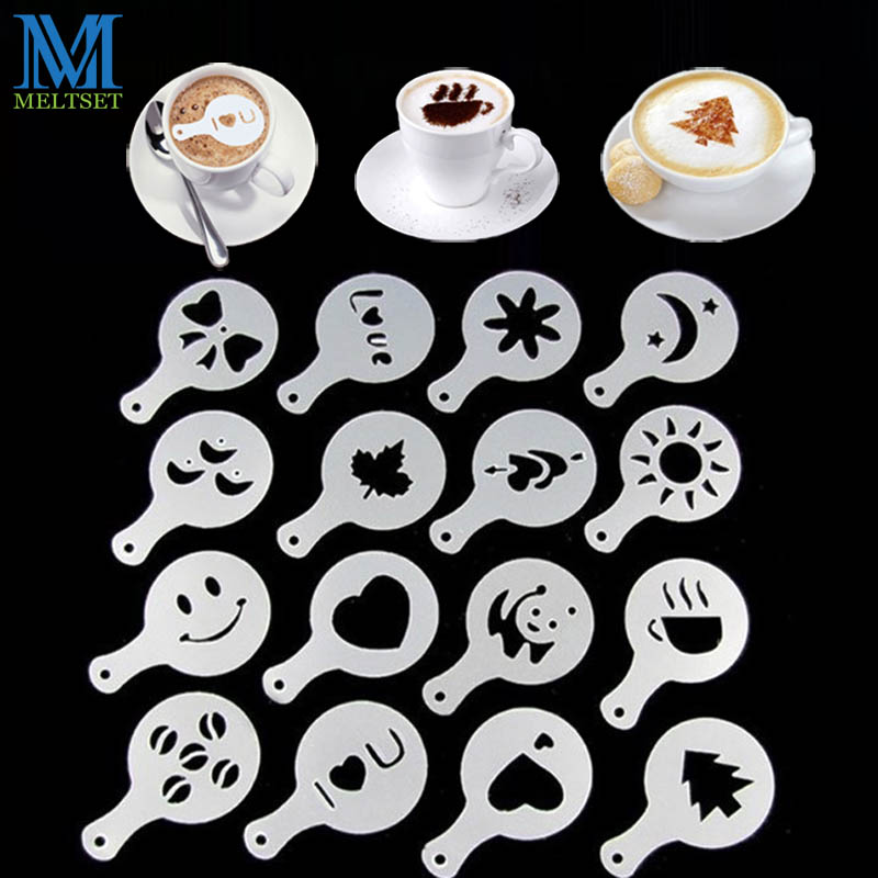 16pcs/Set Coffee Prinitng Mold DIY Plastic Coffee Foam Spray Template Cappuccino Coffee Decoration Stencil
