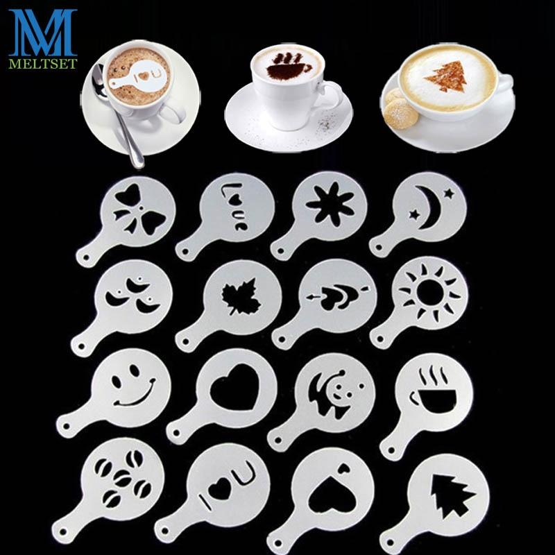16 stks / set Koffie Prinitng Schimmel DIY Plastic Koffie Schuim Spray Template Cappuccino Koffie Decoratie Stencil