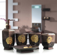 5pcs kit banheiro / Resin wash bathroom set / Soap Dispenser/Toothbrush Toothpaste Holder/Tumbler/ suite set bathroom Wedding