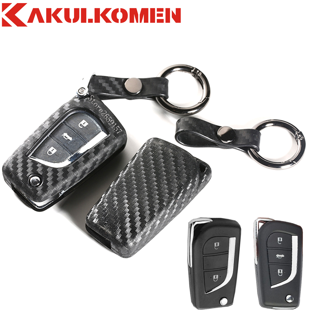 Silicone flip key fob cover remote case shell 2 3 buttons for 2014 2015 2016 toyota auris corolla rav4 avensis yaris verso aygo