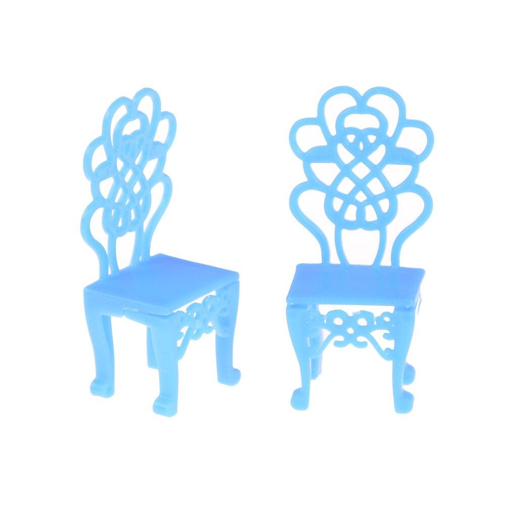 2 Stuks Plastic Blauwe Stoelen Lege Stoelen Poppenhuis Accessoires Voor 10 Cm Dolls Kids Gift Het Verlichten Van Reuma