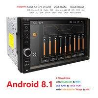 2 Гб ОЗУ четырехъядерный Автомобильный Электронный Авторадио 2din android 8,1 автомобильный медиаплеер Стерео gps навигация wifi + Bluetooth + радио + 4 г DAB +