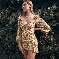 Jastie Floral Print Mini Dress Adjustable Lace up neck Ruched Hem Evening Party Dresses Summer Clothes 2019 Women Dress Vestidos