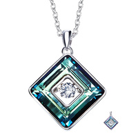 925 Sterling Silver Necklace For Woman Purple/Blue Cube Square Crystals Pendants Necklaces with Movement of the Stone Jewelry