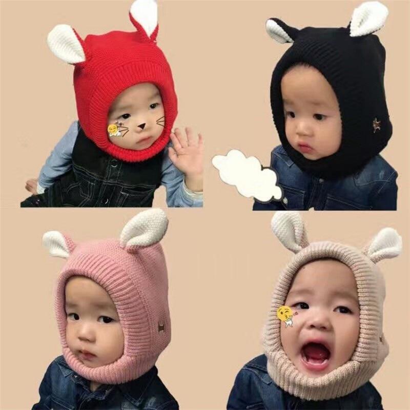 Winter Baby Hats 3D Ear Crochet Knitted Caps for Infant Boys Girls Neck  Warmer Children Kids Caps 171464b9d912