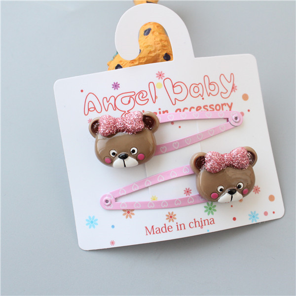 2 PCS Bear BB Clips Girls Hair Accessories Kids Hairpins Children   Headwear   Baby Hair Clips Headdress