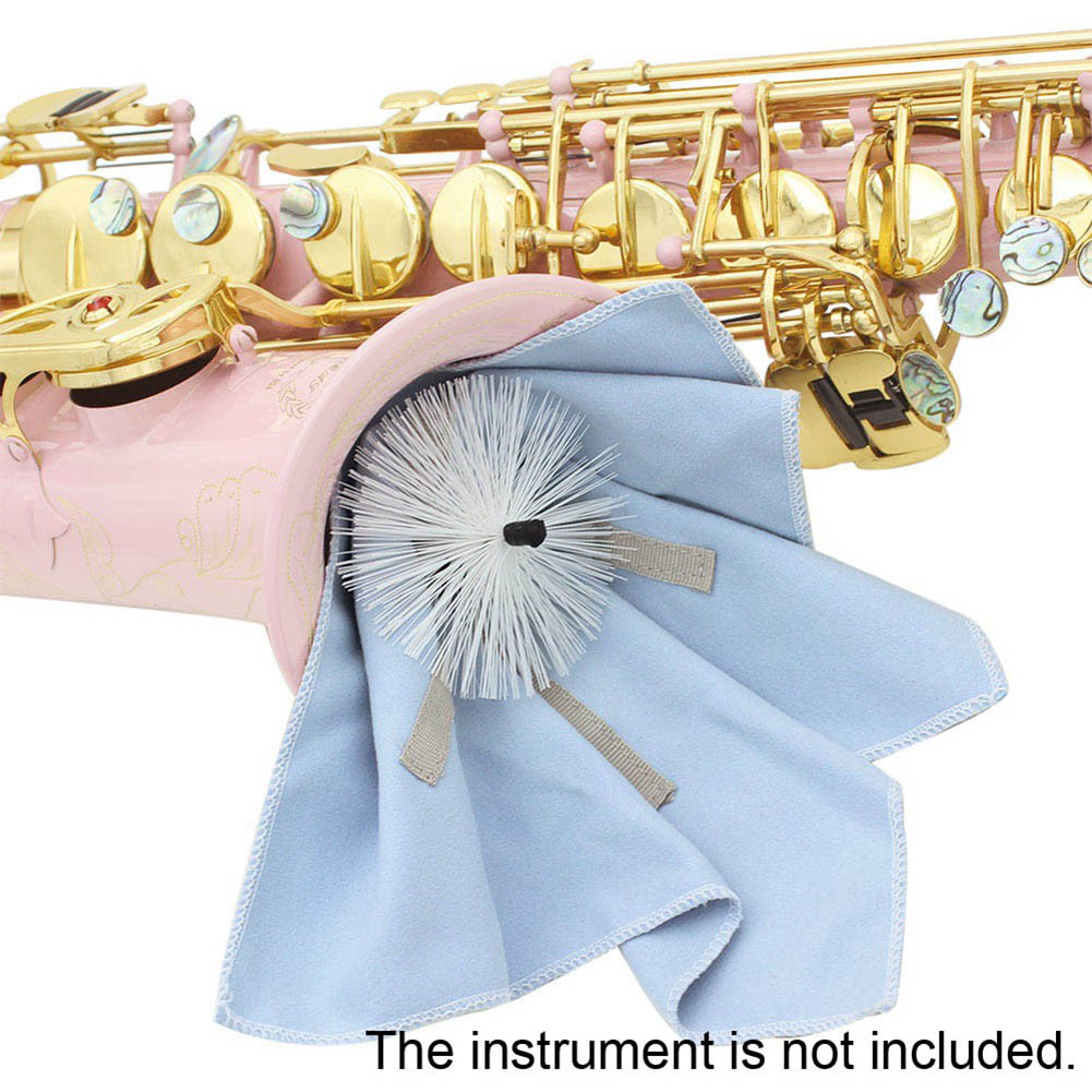 Professional Sax Saxophone Cleaning Cloth Tools With Brush Weighted Cord Woodwind Saxophone Instruments Parts & Accessories soprano saxophone bb curved sax high f with case the blue silver keycopper simulati copper simulation soprano saxophone