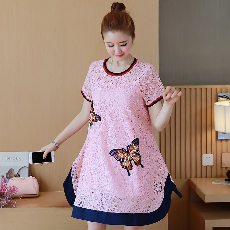 New summer dress maternity dress Korean version of the lace embroidery butterfly dress + big hem strap two suit