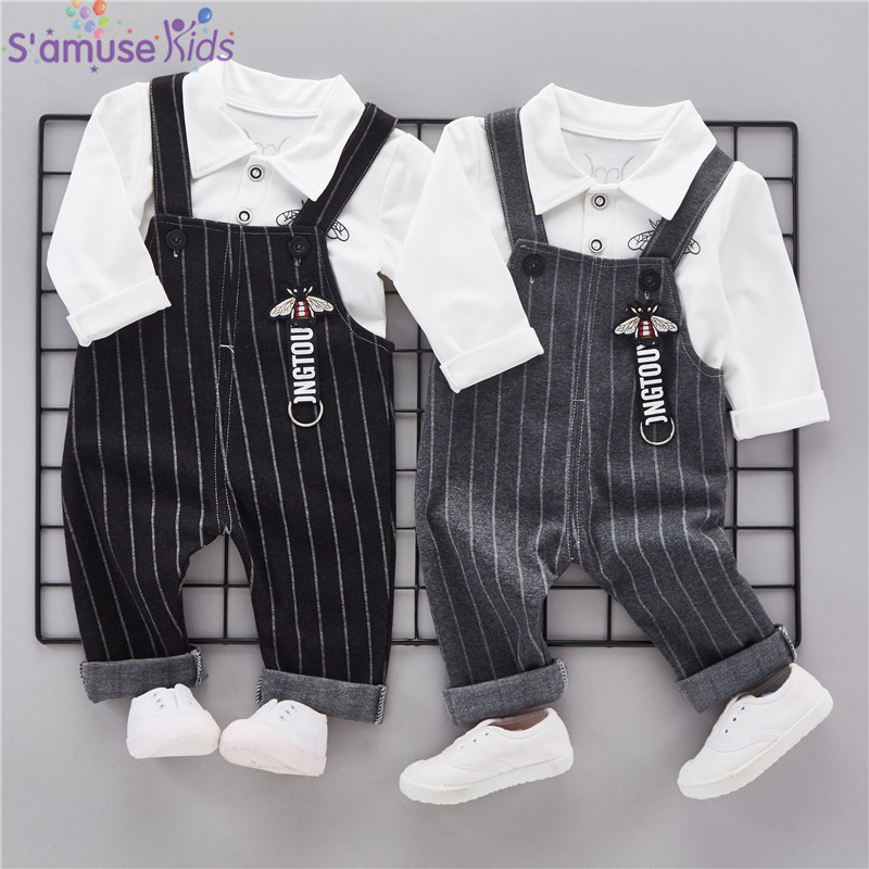 Striped Baby Boy Clothes Sets Spring 2018 New Cotton Children Clothing Kids Clothes for boys Girls Clothes tshirt+Bib Pants spring kid boys girls print sweater with hat children casual clothing 2016 children s sets summer kids baby boy clothes 2987