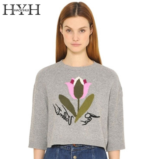 HYH HAOYIHUI Words Embroidery Sweater Solid Gray Color Crew Neck Ladies Sweater Autumn Casual Streetwear Style Women Pullover