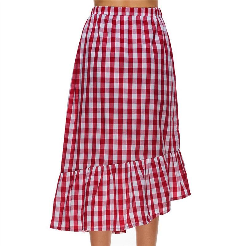 Negro Cheque Faldas Botones Frente Verano Mujeres Ruffles S005 rojo wB706txx