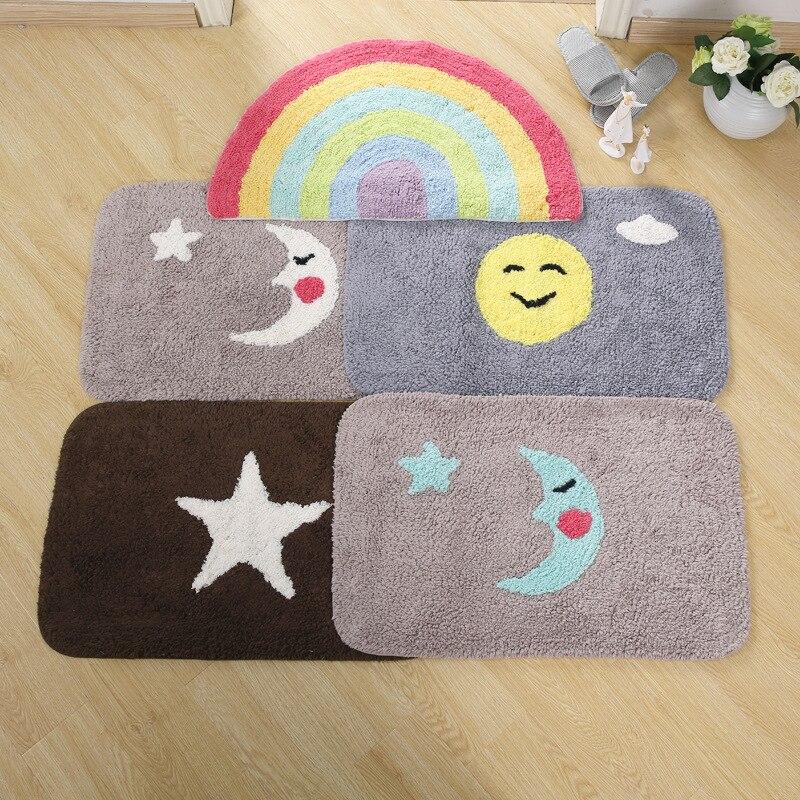 Tapis de sol multicolore motif lune tapis Rectangle tapis antidérapant lavable Durable pour salle de bain/paillasson