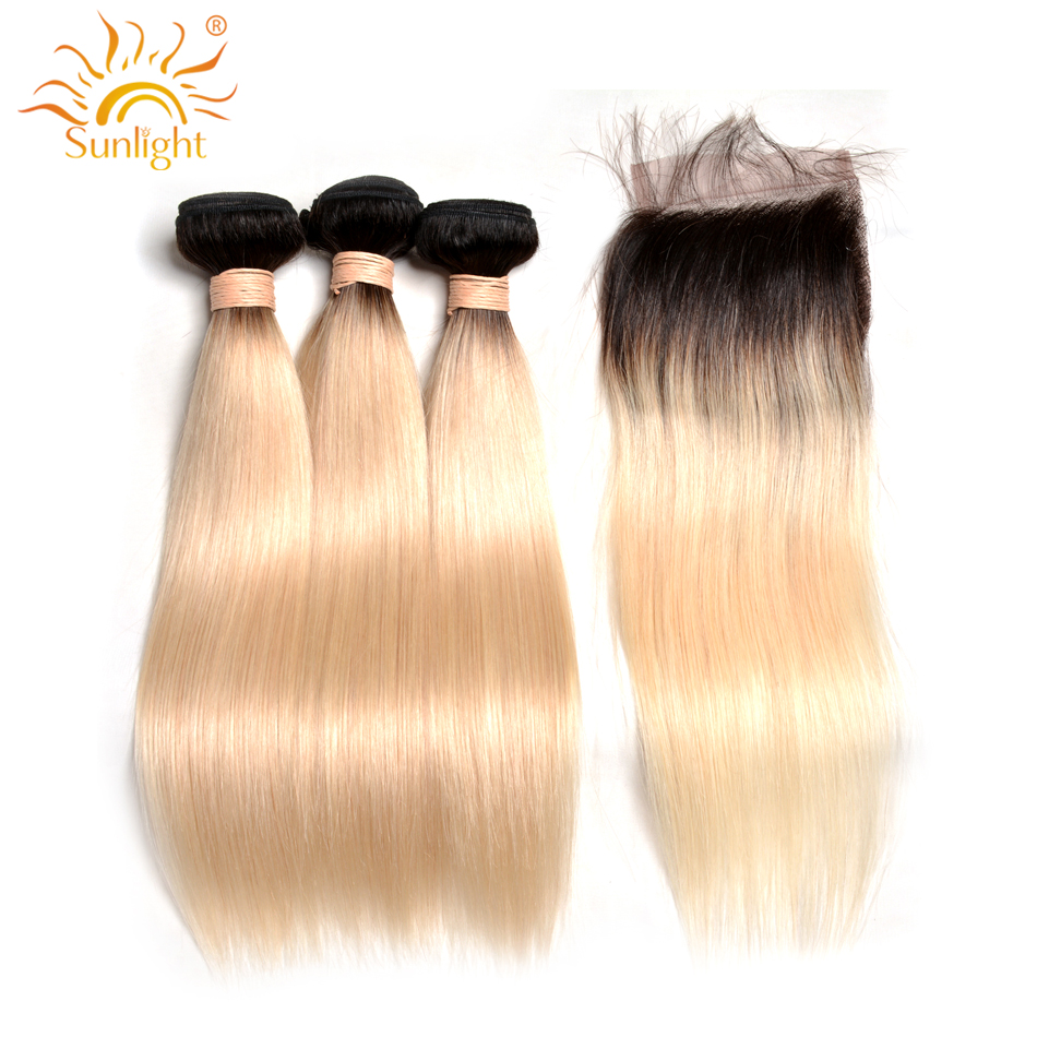 1B 613 Honey Blonde Brazilian Straight Hair Bundles with Lace Closure Sunlight Remy Human Hair Blonde