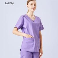Medical uniforms for women Scrubs medical tops work wear Round neck Purple summer short sleeve Nursing uniform