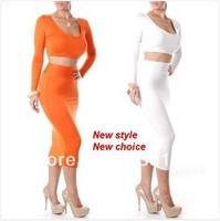 Exclusivo laranja branco preto roxo alta Waisted recortada roupa de duas peças Bodycon vestido F1337