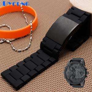 Image 2 - Silikon gummi uhr band mens wasserdicht für diesel armband armband band 28mm DZ7370 DZ7396 DZ428 edelstahl b