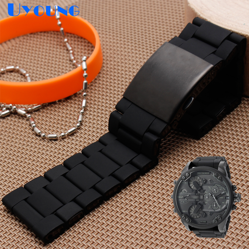 Image 2 - silicone rubber watch band mens waterproof for diesel watch strap bracelet band 28mm DZ7370 DZ7396 DZ428 stainless steel b-in Watchbands from Watches