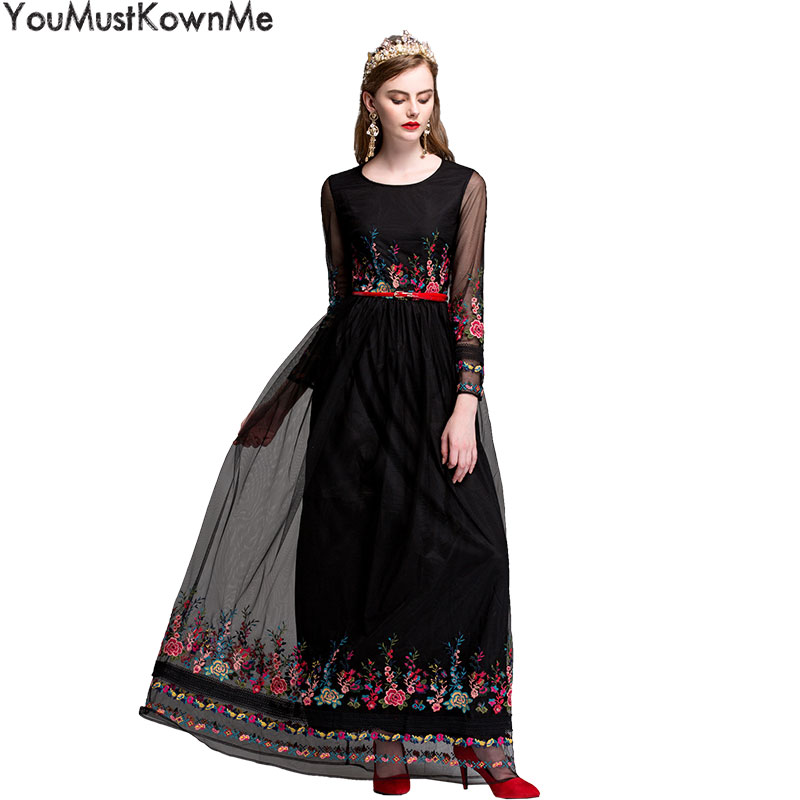 YouMustKnowMe mesh floral embroidered women maxi long dress 2018 spring summer round neck sashes tunic black long party dresses