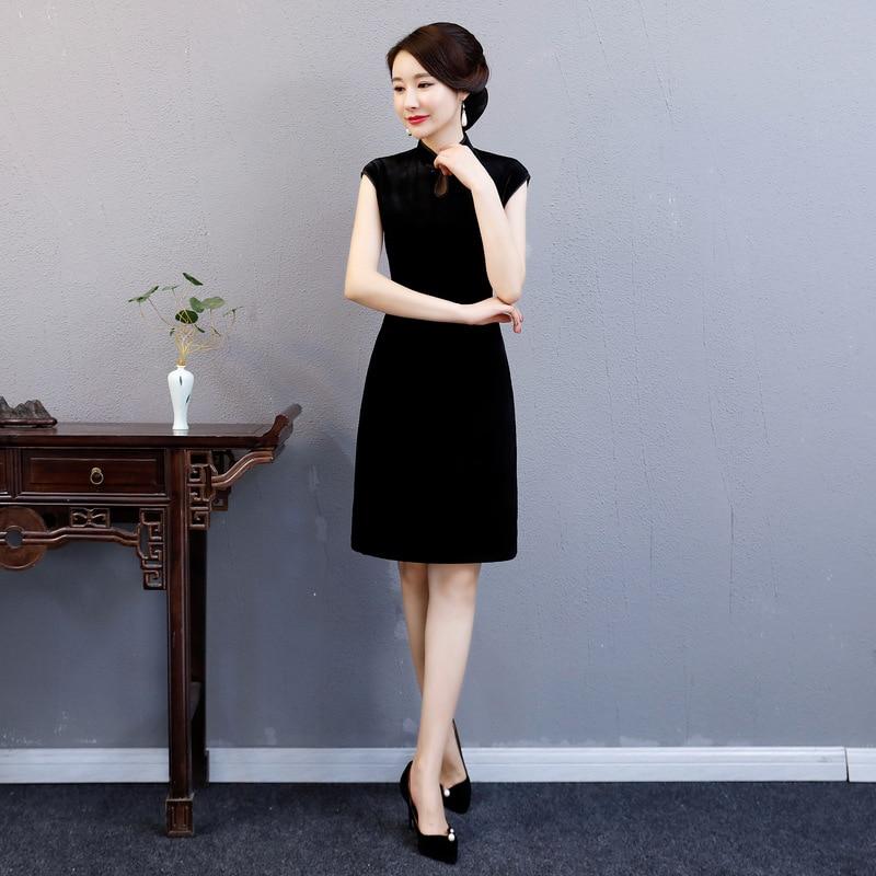 2 Robes style De Longueur 3 Cheongsam Mince 4 Lady Partie Bouton Genou Femmes Printemps 2019 style Qipao Pc Ensemble Mode Chinois Robe style 1 Velours 2 Style pTXnwxBqg