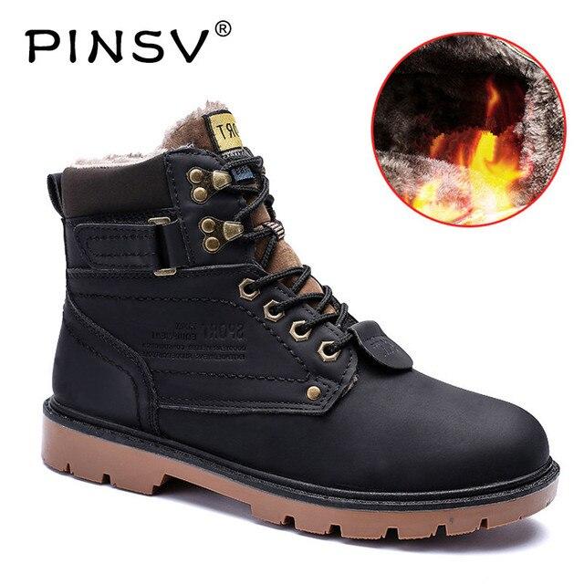 Rozmiar 39-46 buty robocze męskie buty zimowe ciepłe pluszowe buty śnieg buty męskie buty robocze PU skórzane buty dla mężczyźni Botas Hombre PINSV