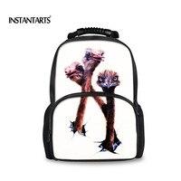 INSTANTARTS Fashion Women Felt Backpack Travel Ladies Laptop Bagpack 3D Animal Printing Backpack for Teenager Student Girls Gift