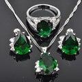 Newst Verde Piedra Superior AAA + Cubic Zirconia Mujeres pendientes de Plata de La Joyería Collar Colgante Pendientes JS024 Suena El Envío Libre